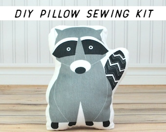 Cut and Sew Raccoon Pillow DIY Sewing Kit. Beginner Sewing Project How To. Pillow Sewing Project. Make Your Own Pillow Kids Summer Craft Kit