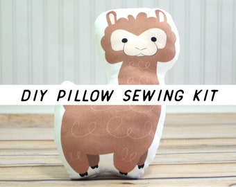 Llama Kids Craft Kit. Alpaca DIY Pillow Sewing Kit. Cut and Sew Beginner Tutorial. Make It Yourself Cushion Sewing Pattern. Kids Room Decor.
