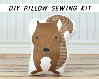Woodland Animal DIY Sewing Kit. Squirrel Pillow Tutorial. Make Your Own Cushion Set. Kids Craft Kits. Beginner Cut and Sew Pillow Tutorial.