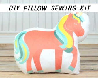 DIY Sewing Kit for Beginners. Make Your Own Pink Unicorn Pillow. Sewing Project Kit, Starter Tutorial. Cut and Sew Pillow. Summer Kids Craft