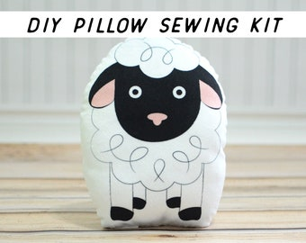 Baby Farm Nursery Decor. Lamb Pillow DIY Sewing Kit. Starter Sewing Project, Beginner Sewing Pattern. Cushion Tutorial Cut and Sew Kit.