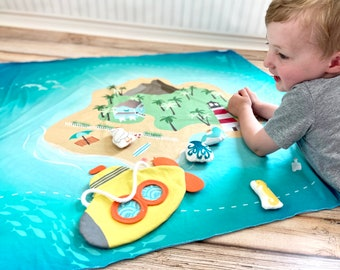 Open Ended Play, Ocean Play Mat. Under the Sea Pretend Play. Educational kids toys, Imaginative play, Toddler quiet travel toys, Kids gifts