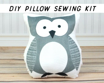 Make Your Own Owl Pillow, DIY Sewing Kit. Beginner Sewing Project, How To Pillow Pattern Tutorial. Minky Owl Cushion, Cut and Sew Kids Craft