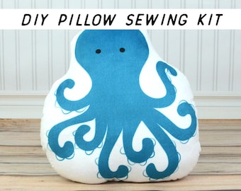 Summer Kids Craft Kit. Beginner Sewing Kit. DIY Sewing Kit, Make Your Own Pillow Pattern Tutorial. DIY Ocean Decor, Octopus Pillow.