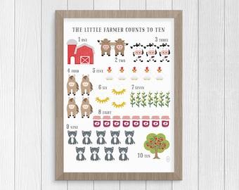 Farm Animal Decor, Kids Counting Poster. Number Poster, Homeschool Wall Art. Farm Nursery Print, Farm Animal Nursery Art. Childrens Wall Art