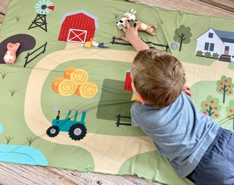 Farm Play Mat. Baby Tummy Time, Toddler Floor Play. Kids Pretend Play Montessori Toy, Waldorf Educational Toys. Imaginative play, Quiet Toy.