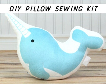 Make It Yourself Narwhal Pillow. Kids DIY Sewing Kit, Beginner Sewing Project. Summer Craft Tutorial. Cut and Sew Pillow Kit. Cushion How To