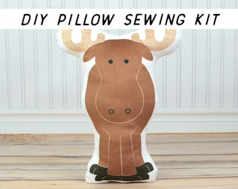 DIY Baby Nursery Decor, Moose Pillow DIY Sewing Kit. Cut and Sew Summer Craft. Make Your Own Cushion, Starter Sewing Project Kids Room Decor