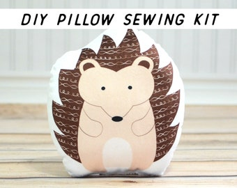 DIY Sewing Kit, Hedgehog Pillow. Make It Yourself Sewing Project. Plush Sewing Tutorial, Beginner Sewing Instructions. Pillow Sewing Pattern