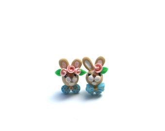 Easter Bunny Couple Post Earrings