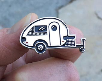 Tiny Trailer Enamel Pin, T@B Trailer, Happy Camper, Teardrop, Camping Pin