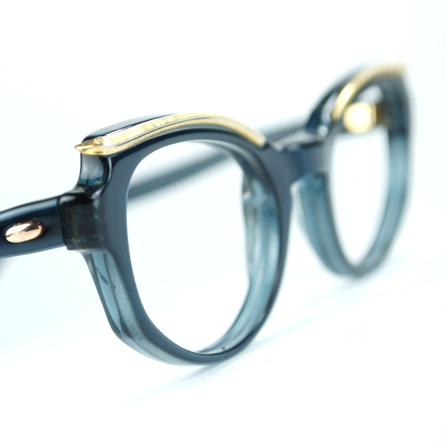 Sapphire Blue Cat Eye Glasses Frames with Golden Browline