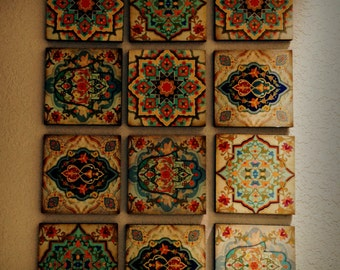 Perfect Hamsa Hand Moroccan Wall Art Set Wall Blocks 8x8 Set Of 12 Spanish Home Decor  Moroccan Wall Art Hamsa Hand Wall Blocks Hamsa Blocks