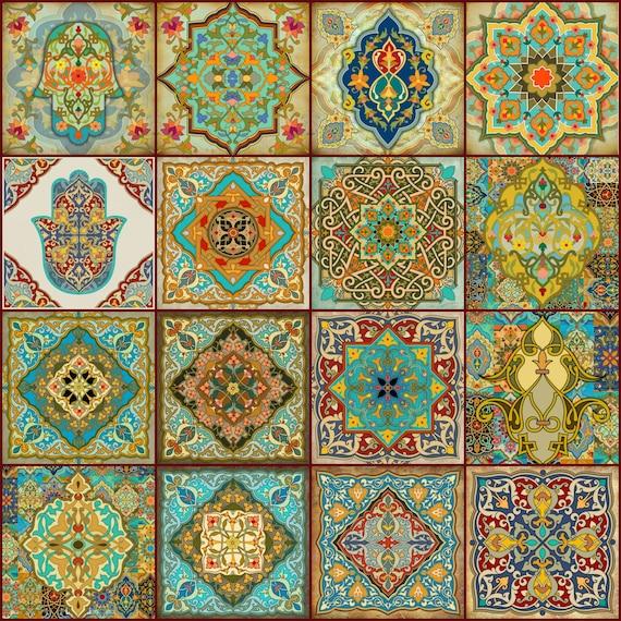 Hamsa Hand Blocks Moroccan Wall Art Set Hamsa Blocks 10x10 Set Of 12 Old Moroccan  Art Set Hamsa Hand Wall Art Spanish Wall Art From Ajobebe On Etsy Studio