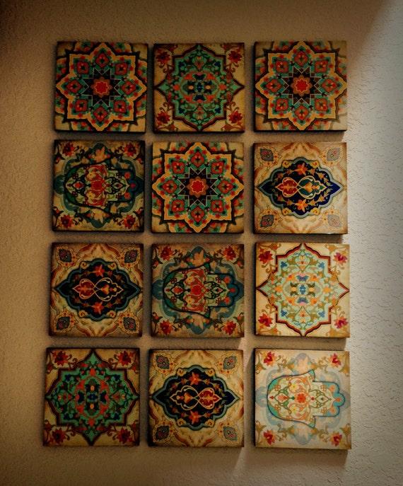 Great Hamsa Hand Moroccan Wall Art Set Wall Blocks 8x8 Set Of 12