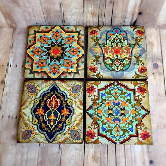 moroccan wall art set hamsa block set of 4 hamsa wall art etsy. Black Bedroom Furniture Sets. Home Design Ideas