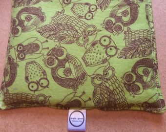 Aromatherapy Flannel Hot Cold Pack Microwave Flax Seed Organic Lavender Medium 8x8 Square Freezer Herbal Heating Pad Green Brown Owls