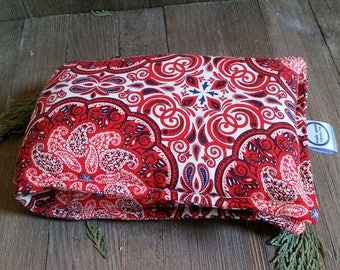 Aromatherapy Neck Pillow Flax Seed Organic Lavender Heating Herbal Therapy Wrap Microwave Heating Pad Red Paisley Medallion Free Shipping