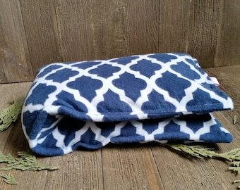 Aromatherapy Flannel Neck Pillow Flax Seed Organic Dried Lavender Herbal Scented Therapy Microwave Heating Pad Wrap Blue White Free Ship