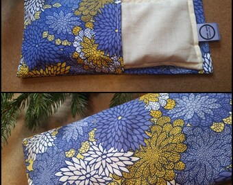 Aromatherapy Eye Pillow Flax Organic Lavender Mint Yoga Savasana Removable Cover Blue Yellow Floral Zinnia Relaxation Microwave Compress