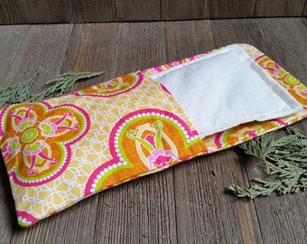 Aromatherapy Eye Pillow Flax Organic Lavender Mint Yoga Savasana Removable Cover Orange Pink Relaxation Soothing Natural Microwave Compress