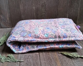 Aromatherapy Flannel Neck Pillow Flax Seed Organic Dried Lavender Herbal Scented Therapy Microwave Heating Pad Wrap Peach Floral Free Ship