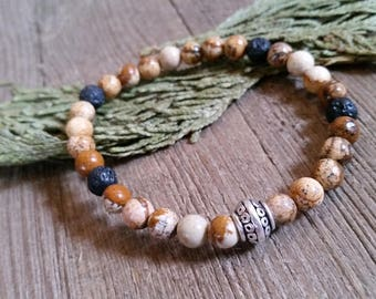 Aromatherapy Stretch Bracelet Natural Gemstone Lava Stone Essential Oil Picture Jasper Brown Tan Bead Jewelry