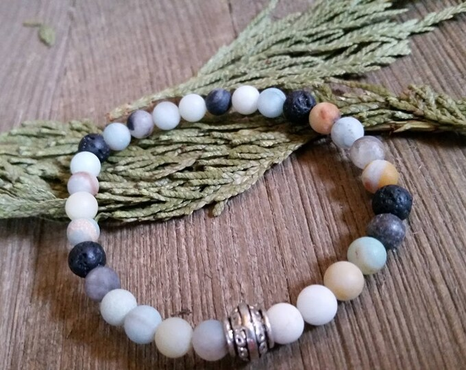 Featured listing image: Aromatherapy Stretch Bracelet Natural Gemstone Lava Stone Essential Oil Amazonite Jewelry Bead