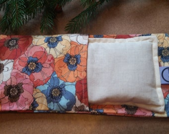 Aromatherapy Eye Pillow Flax Organic Lavender Yoga Savasana Removable Cover Watercolor Poppy Floral Poppies Relaxation Microwave Compress