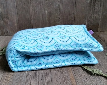 Aromatherapy Flannel Neck Pillow Organic Flax Seed Dried Lavender Herbal Scented Therapy Microwave Heating Pad Wrap Turquoise Blue Free Ship