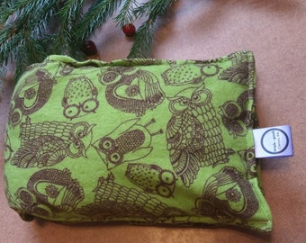 Aromatherapy Neck Pillow Flannel Organic Flax Seed Dried Lavender Herbal Scented Therapy Wrap Microwave Heating Pad Brown Green Owl