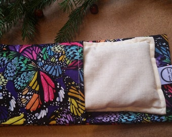Aromatherapy Eye Pillow Flax Organic Lavender Yoga Savasana Removable Cover Rainbow Butterfly Monarch Relaxation Microwave Compress