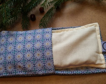 Aromatherapy Eye Pillow Flax Organic Lavender Mint Yoga Savasana Removable Cover Gold Blue Relaxation Soothing Microwave Compress