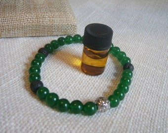 CLEARANCE-Aromatherapy Stretch Bracelet Natural Gemstone Lava Stone Essential Oil Green Jade Jewelry Bead