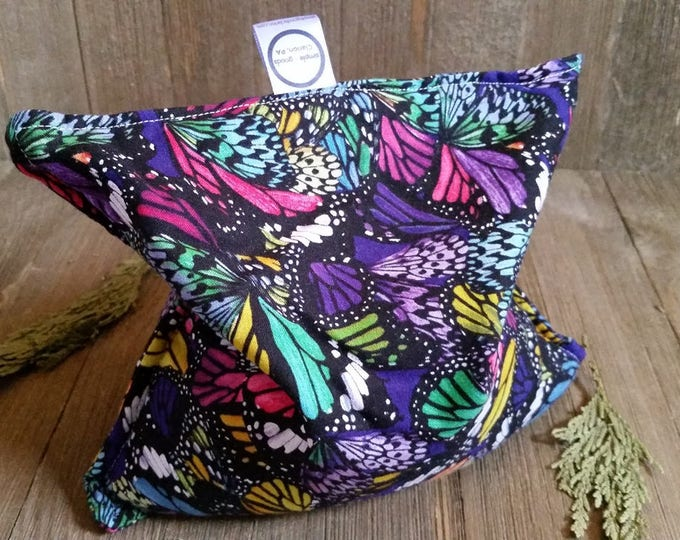 Featured listing image: Aromatherapy Hot Cold Pack Microwave Flax Seed Organic Lavender Medium 8x8 Square Freezer Herbal Heating Pad Purple Rainbow Butterfly
