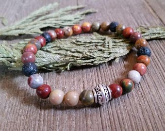 Aromatherapy Stretch Bracelet Natural Gemstone Lava Stone Essential Oil Picasso Jasper Red Tan Jewelry Bead