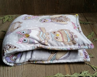 Aromatherapy Flannel Neck Pillow Organic Flax Seed Dried Lavender Herbal Scented Therapy Microwave Heating Pad Wrap Snowy Owls Free Ship