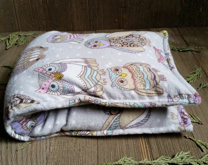 Featured listing image: Aromatherapy Flannel Neck Pillow Organic Flax Seed Dried Lavender Herbal Scented Therapy Microwave Heating Pad Wrap Snowy Owls Free Ship