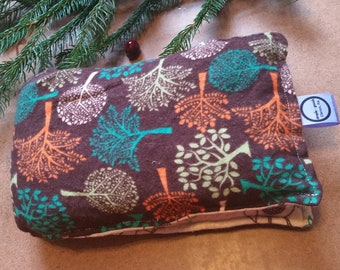 Aromatherapy Neck Pillow Flannel Organic Flax Seed Dried Lavender Herbal Scented Therapy Wrap Microwave Heating Pad Brown Trees Owls