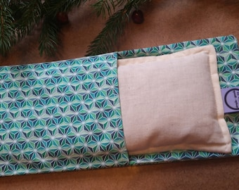 Aromatherapy Eye Pillow Flax Organic Lavender Mint Yoga Savasana Removable Cover Green White Geometric Star Relaxation Microwave Compress
