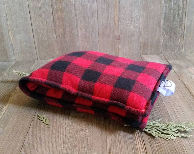 Featured listing image: Aromatherapy Flannel Neck Pillow Flax Seed Organic Lavender Heating Therapy Wrap Microwave Heating Pad Buffalo Check Red Plaid Free Ship