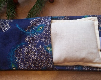 Aromatherapy Eye Pillow Flax Organic Lavender Mint Yoga Savasana Removable Cover Blue Gold Peacock Feather Relaxation Microwave Compress