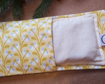 Aromatherapy Eye Pillow Flax Organic Lavender Mint Yoga Savasana Removable Cover Yellow Cream Floral Relaxation Soothing Microwave Compress