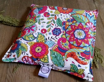 Aromatherapy Hot Cold Pack Microwave Flax Seed Organic Lavender Medium 8x8 Square Freezer Herbal Heating Pad White Floral Mandala Coloring