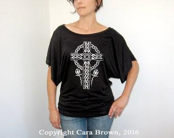 875c84c08 Celtic Cross T Shirt Woman's t-shirt Short Sleeve Top tee Celtic knot work  clothing for women