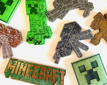 Set of 5 Minecraft resin magnets-party favors-cupcake toppers- creeper favors- Minecraft birthday cake- magnets sets -gamer gifts- customize