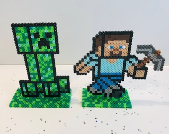 """Minecraft perler 6"""" standing figure, Birthday, cake toppers, party favors, Steve, Creeper, Mojang, enderman, Tabletop party decorations"""
