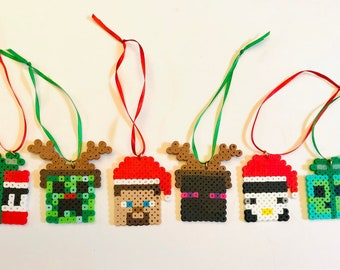 Minecraft Christmas ornaments,stocking stuffers, pixel art, set of 6, party favors, Steve, Creeper, Pig, Mojang, enderman, Gaming Gifts