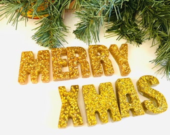 Merry Christmas magnets-Christmas decor – stocking stuffers – holiday gifts – Christmas gifts-Gold glitter magnet set-Christmas decorations