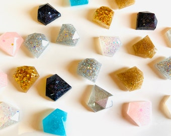 Glam magnets! Set of 6 luxe diamond shapes -Home schooling-preschool shapes- glitter art magnets -customizable-birthday gifts- hostess gift
